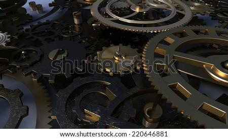 Background with metal cogwheels a clockwork. Macro, extreme closeup - stock photo