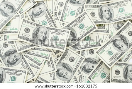 Background with money american hundred dollar bills - horizontal  - stock photo