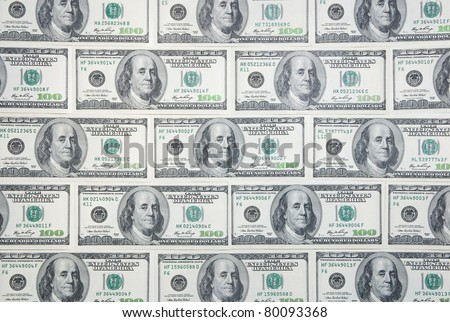 Background with money american hundred dollar bills in the order of bricks