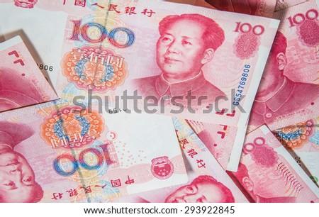 Background with money china hundred yuan bills - horizontal - stock photo