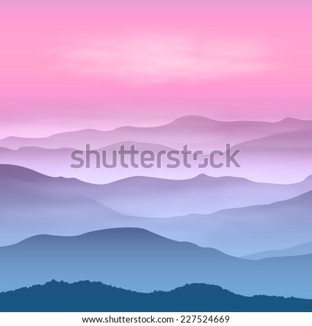 Background with mountains in the fog. Sunset time. - stock photo
