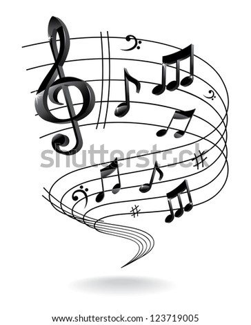 Background with Music Note. - stock photo
