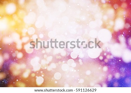 Background With Natural Bokeh And Bright Golden Lights. Vintage Magic Background With Color