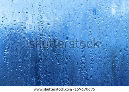 Background with natural water drops on glass