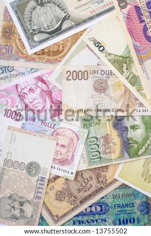 Background with new and old European Money . - stock photo
