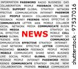 Background with News headline and tags on news topic. Closeup poster. Concept     . - stock photo