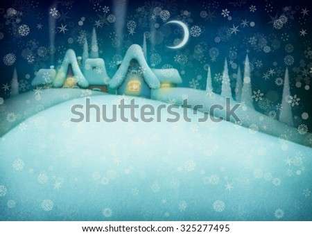 Background with night winter landscape and houses.  - stock photo