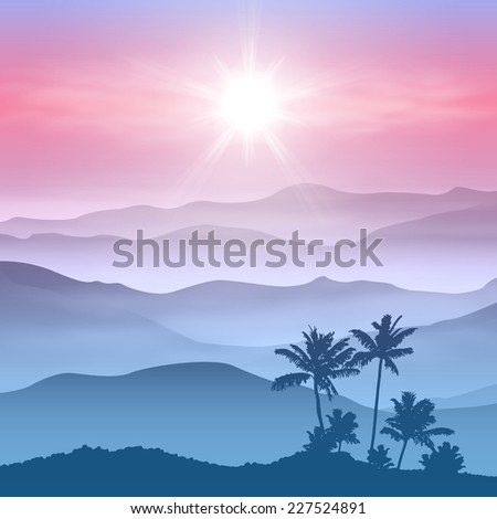 Background with palm tree and mountains in the fog. - stock photo