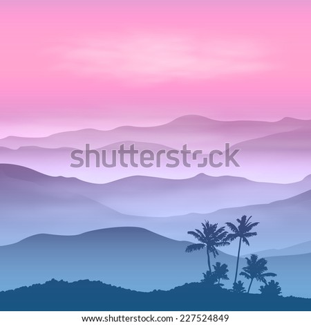 Background with palm tree and mountains in the fog. Sunset time. - stock photo