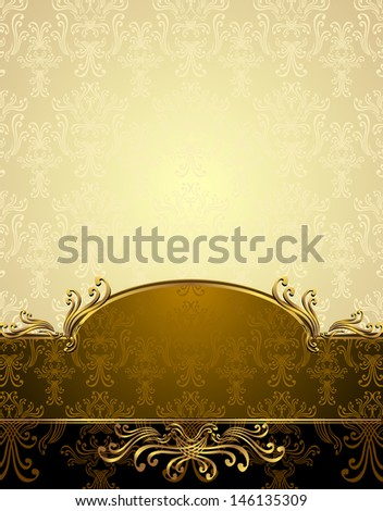 Background with pattern in Victorian style Gold and brown colors - stock photo