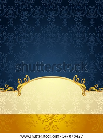 Background with pattern in Victorian style in Gold and Dark Blue colors  - stock photo