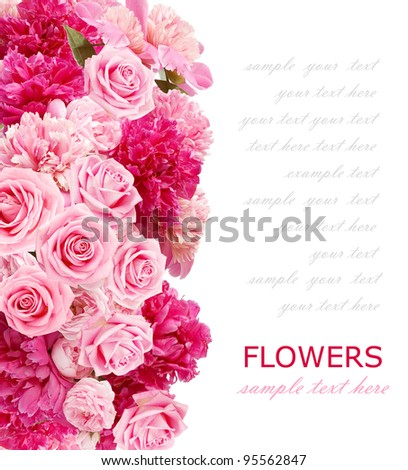 Background with peonies and roses isolated on white with sample text