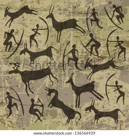 background with petroglyphs - stock photo