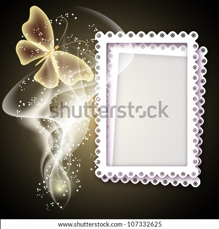 Background with photo frame, butterfly and smoke for inserting text and photo - stock photo