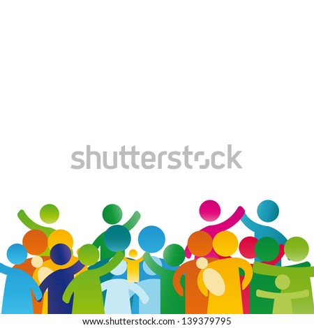 Background with pictogram showing figures happy family - stock photo