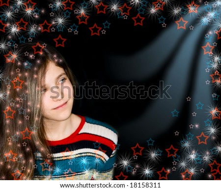 Background with portrait teen girl - stock photo