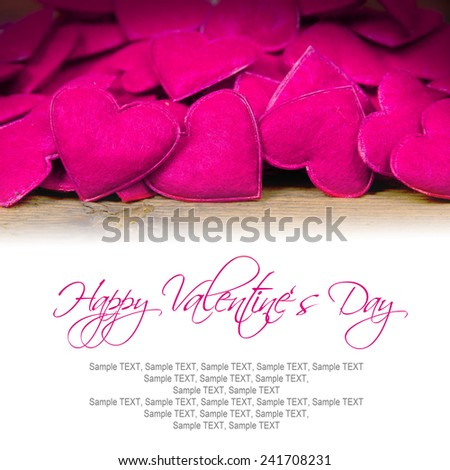 Background with purple hearts on wooden desk with white copy space - stock photo