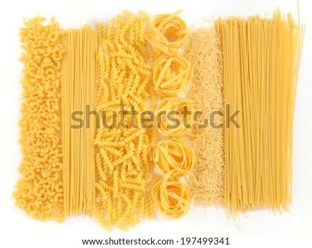 background with raw bright macaroni - stock photo