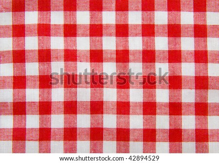 Background with red and white squares made of cotton - stock photo