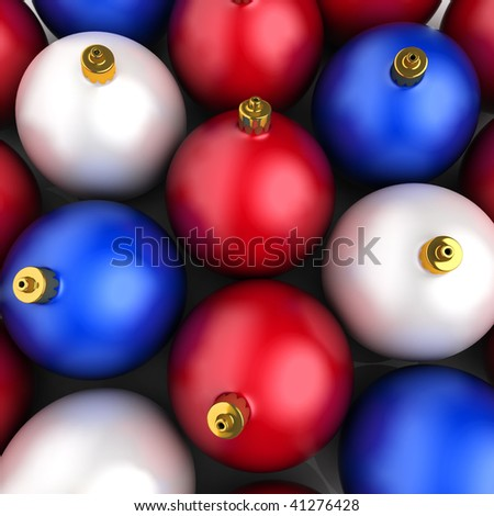 Background with red, blue and white Christmas decorations