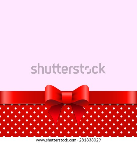 Background with red bow - stock photo
