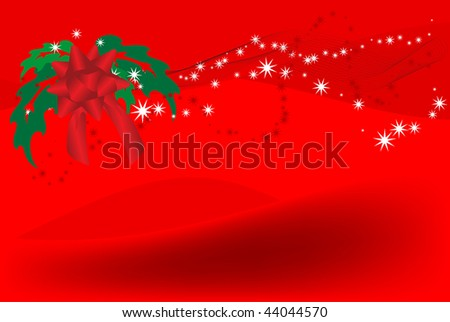 background with red bow and green leaves