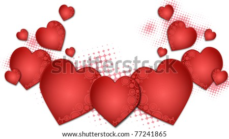 background with red hearts illustration - stock photo