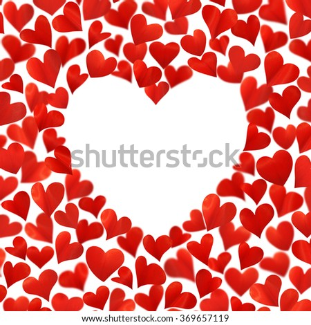 Background with red hearts in 3D, empty space for text in heart shape, three-dimensional image, isolated on white background, Valentine card, birthday card, hearts are made from flower petals - stock photo