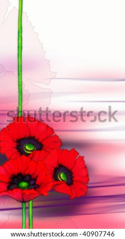 Background with red poppies - stock photo