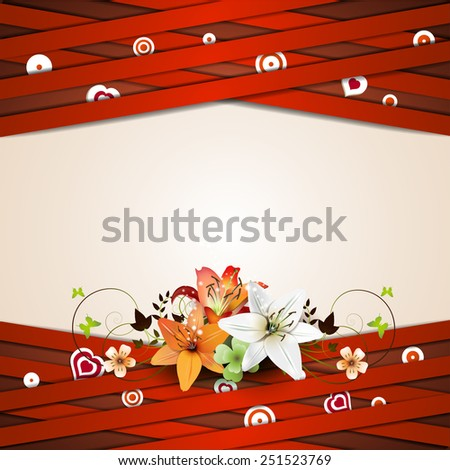 Background with red strips and lilies - stock photo