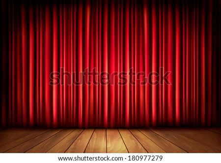 Background with red velvet curtain and a wooden floor. Raster version - stock photo