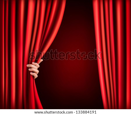 Background with red velvet curtain and hand. Raster version of vector - stock photo