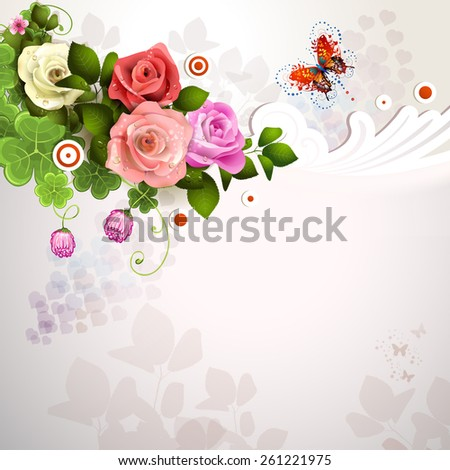 Background with roses and butterflies - stock photo