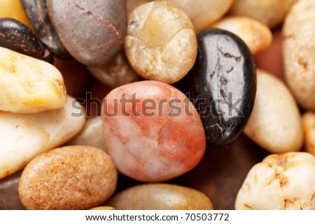 background with round pebble stones - stock photo