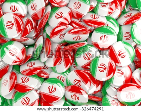Background with round pins with flag of iran - stock photo