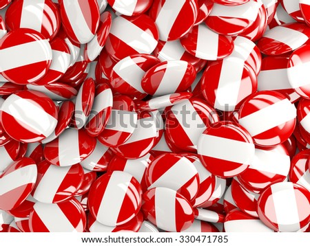 Background with round pins with flag of peru - stock photo