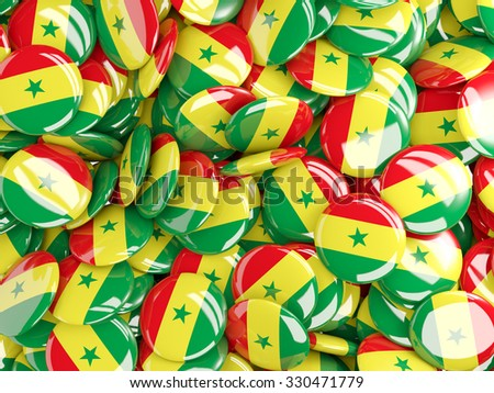 Background with round pins with flag of senegal - stock photo