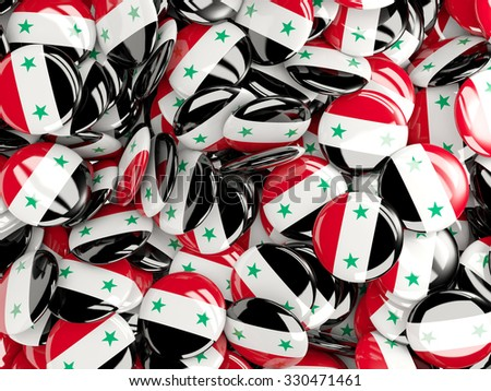 Background with round pins with flag of syria - stock photo