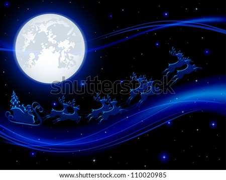 Background with Santa�s sleigh and Moon, illustration. - stock photo