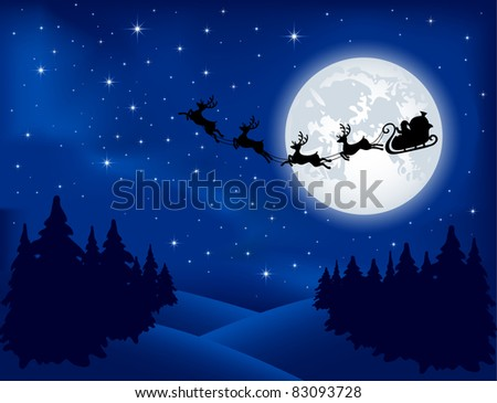 Background with Santa's sleigh, Christmas tree and stars, illustration - stock photo