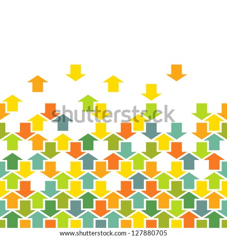 Background with seamless pattern of color arrows. Concept of movement, cooperation and concord. Combinatorial illustration with text box for print and web. For vector version see image id 112061918 - stock photo