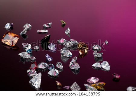 Background with set of many different gemstone - stock photo