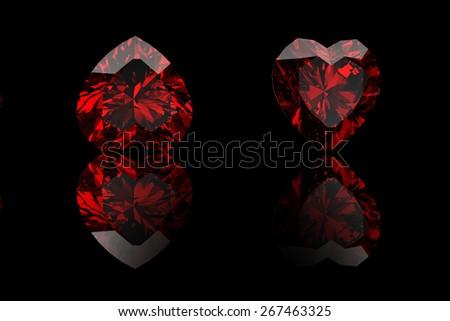Background with set of many different gemstones. Garnet heat shape  - stock photo
