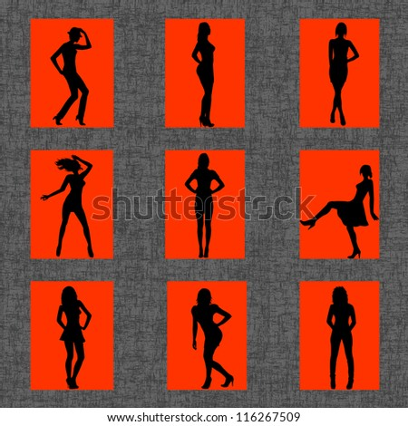 Background with set of sexy women silhouettes - stock photo