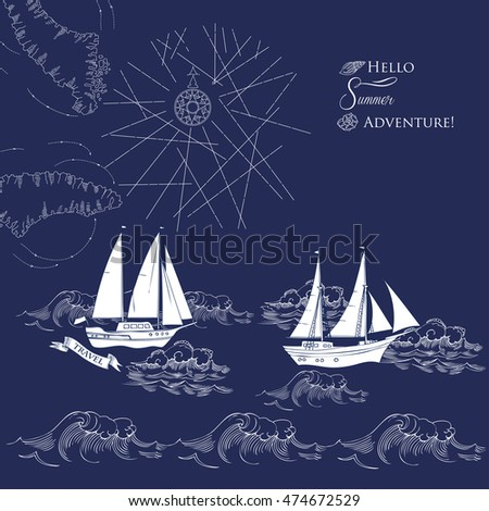Background with ships and waves.Hand drawn sea, waves and yachts.   Illustration