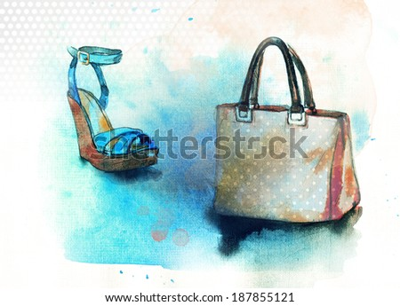 Background with shoes and bag  - stock photo