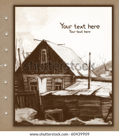Background with sketch of old house - stock photo