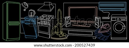 background with sketches of household appliances - stock photo