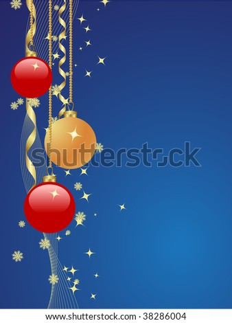 Background with snowflakes, star and decoration.