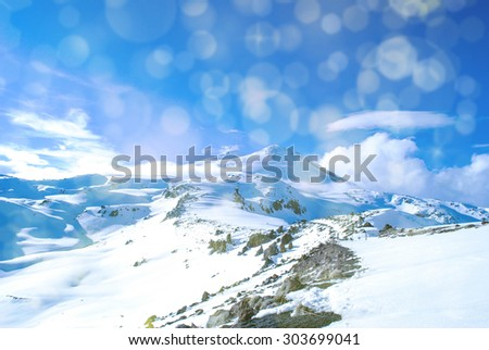 Background with snowy mountains